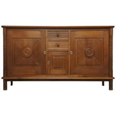 Art Deco Oak Sideboard by Charles Dudouyt, France, 1930s
