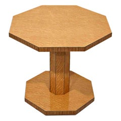 Art Deco Oak Tiger Wood Blonde Occasional Table