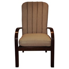 1930's Art Deco Oak Upholstered Lounge Chair by Parker Knoll.