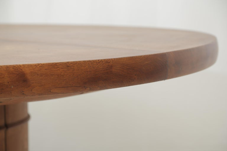 Carved Art Deco Oakwood Round Dining Table 'Extensions Possible' For Sale