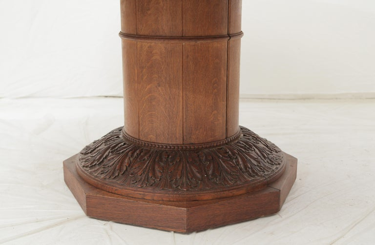 Art Deco Oakwood Round Dining Table 'Extensions Possible' In Good Condition For Sale In Miami, FL