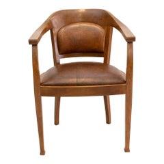 Art Deco Oakwood Leather Armchair