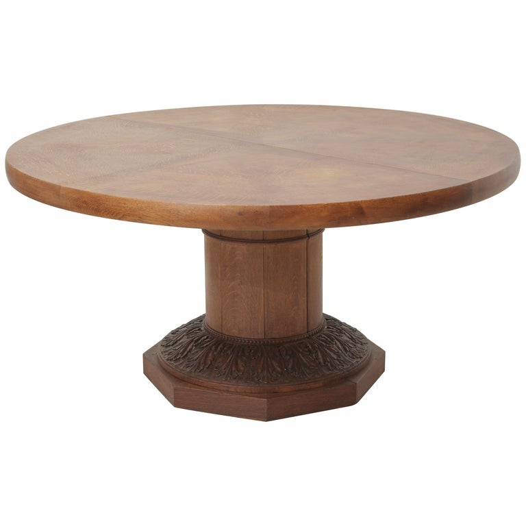 Art Deco Oakwood Round Dining Table 'Extensions Possible' For Sale