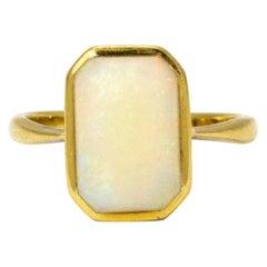 Art Deco Oblong Opal 18 Karat Yellow Gold Ring