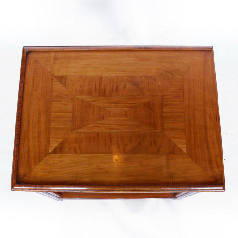 Art Deco Occasional Table Walnut with Sliding Tray and Integral Drawer 1930's For Sale 7