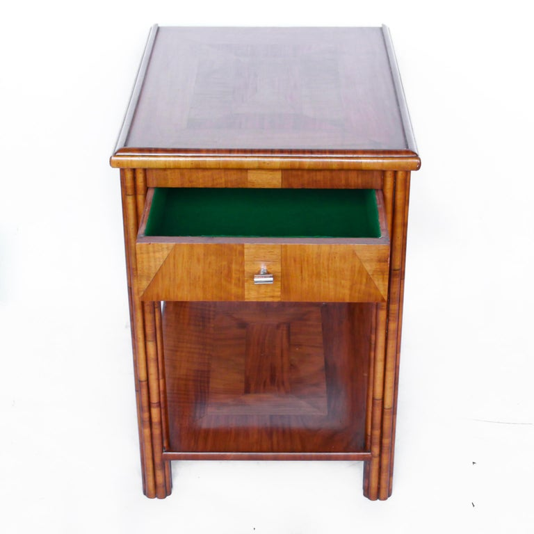 Mid-20th Century Art Deco Occasional Table Walnut with Sliding Tray and Integral Drawer 1930's For Sale