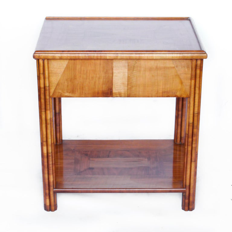 Art Deco Occasional Table Walnut with Sliding Tray and Integral Drawer 1930's For Sale 1