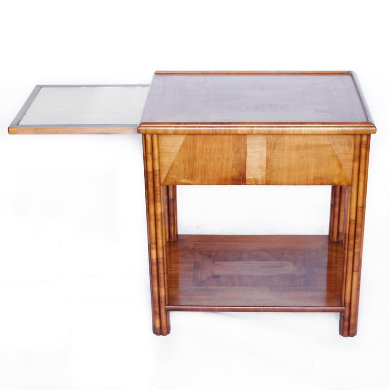 Art Deco Occasional Table Walnut with Sliding Tray and Integral Drawer 1930's For Sale 2
