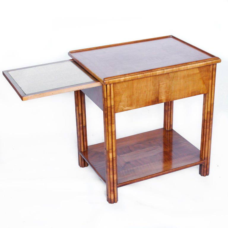 Art Deco Occasional Table Walnut with Sliding Tray and Integral Drawer 1930's For Sale 3