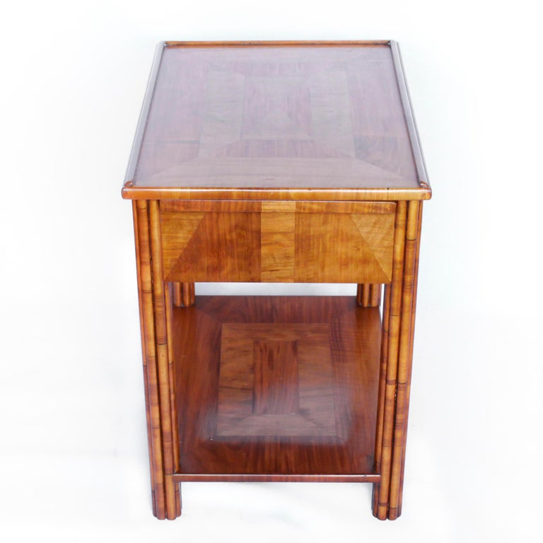 Art Deco Occasional Table Walnut with Sliding Tray and Integral Drawer 1930's For Sale 4
