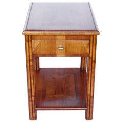 Art Deco Occasional Table Walnut with Sliding Tray and Integral Drawer 1930's
