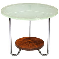Art Deco Occasional Table with Thick Etched Glass Top