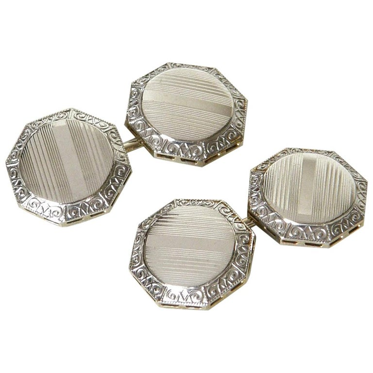 Art Deco Octagonal 14K White and Yellow Gold Geometric Cufflinks in Original Box For Sale