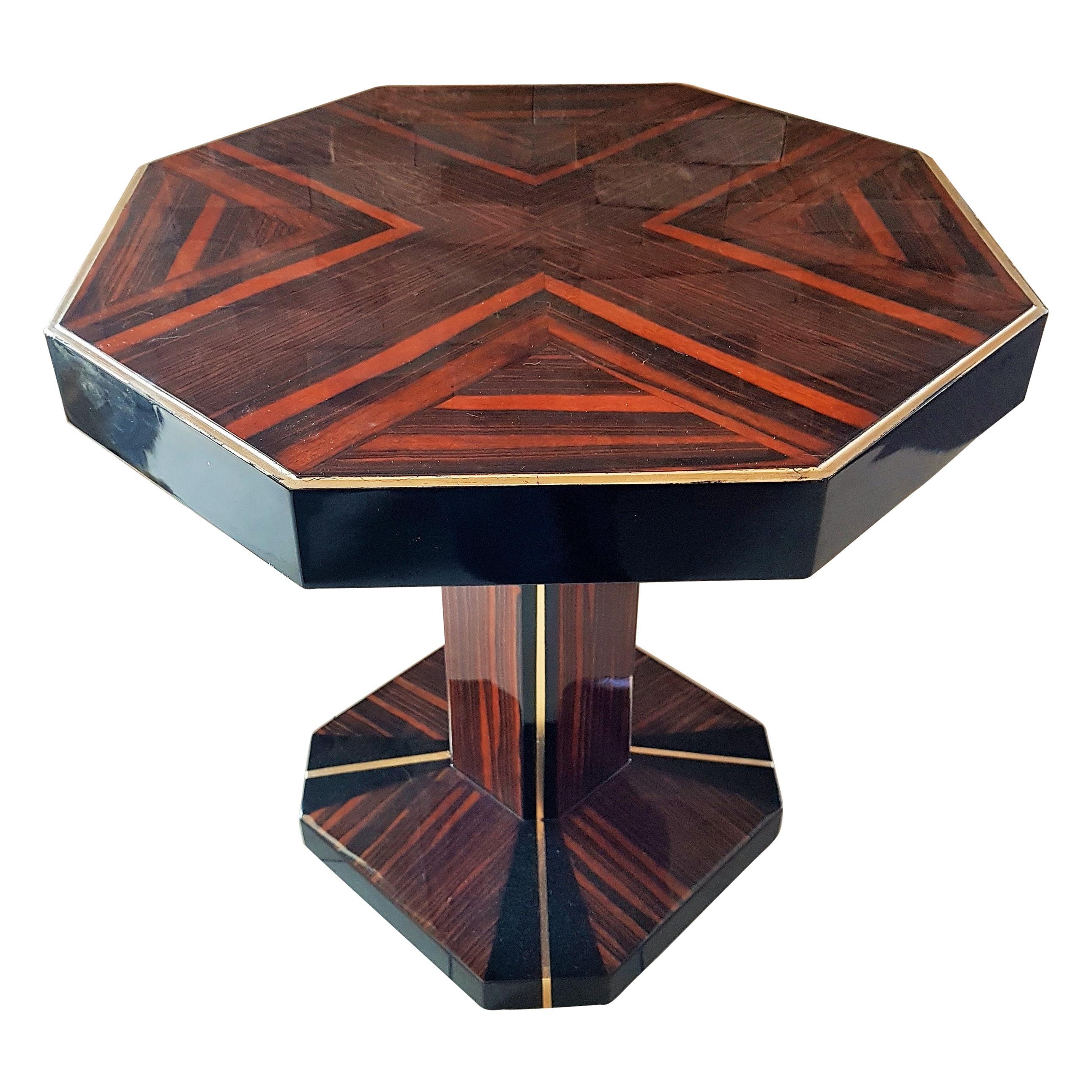 Art Deco Octagonal Side Table, France, 1930s