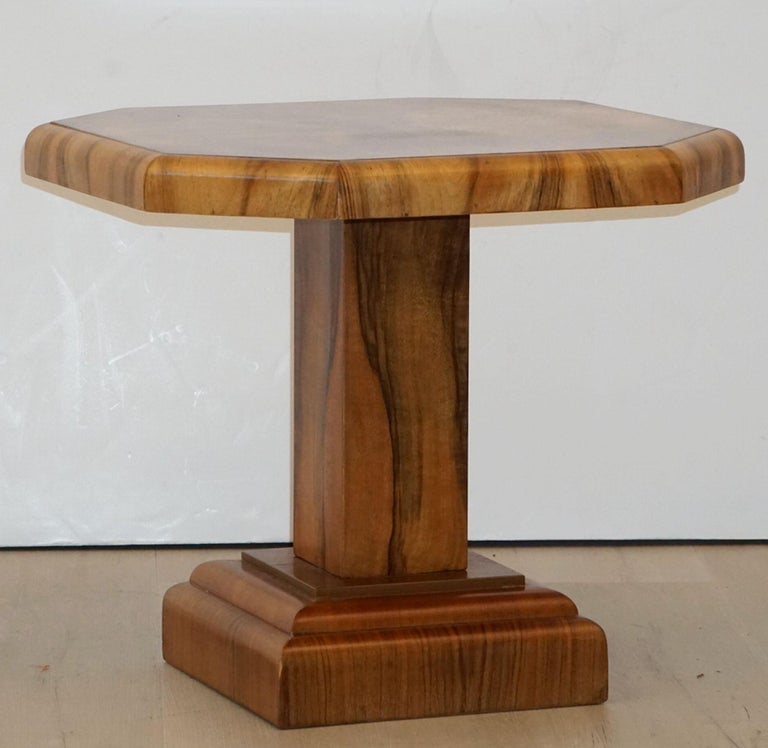 Art Deco Octagonal Table with Burr Walnut Veneer from England For Sale 4