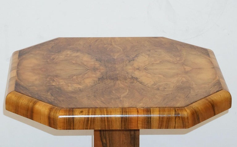 Art Deco Octagonal Table with Burr Walnut Veneer from England For Sale 5