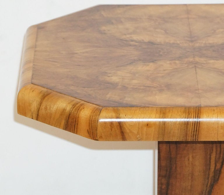 Art Deco Octagonal Table with Burr Walnut Veneer from England For Sale 6