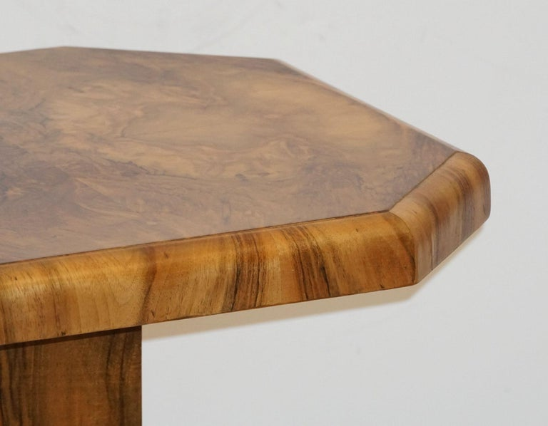 Art Deco Octagonal Table with Burr Walnut Veneer from England For Sale 7