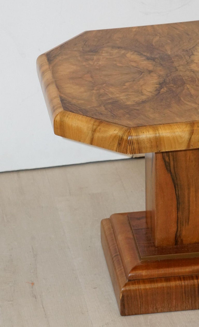 Art Deco Octagonal Table with Burr Walnut Veneer from England For Sale 8