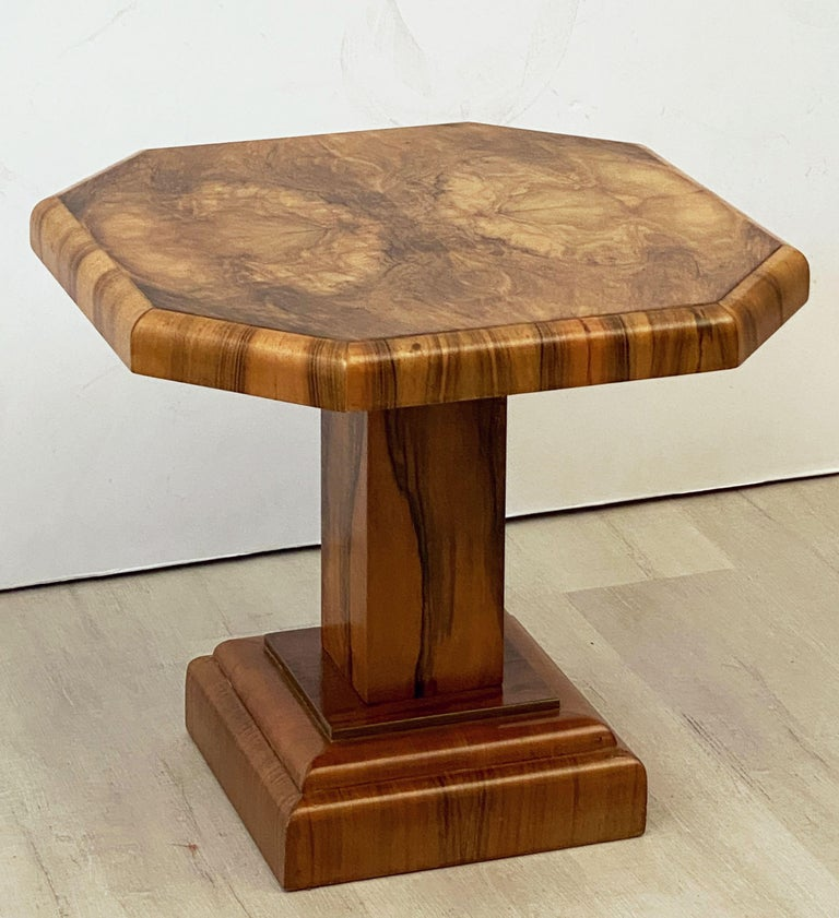 Art Deco Octagonal Table with Burr Walnut Veneer from England For Sale 9