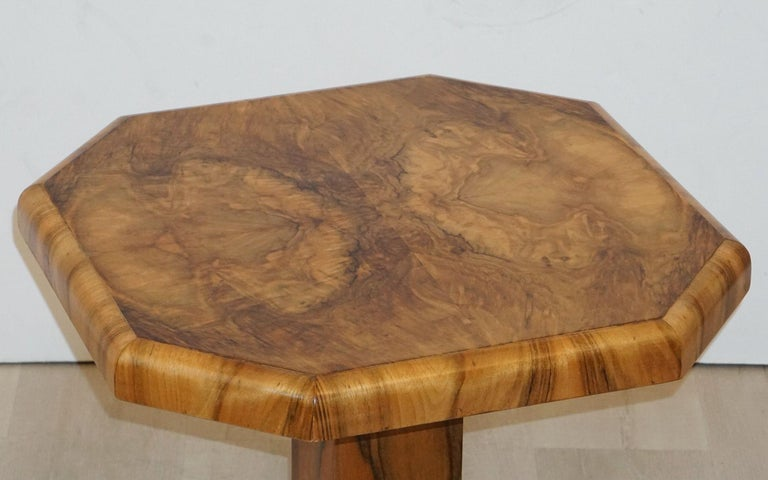 Art Deco Octagonal Table with Burr Walnut Veneer from England For Sale 10