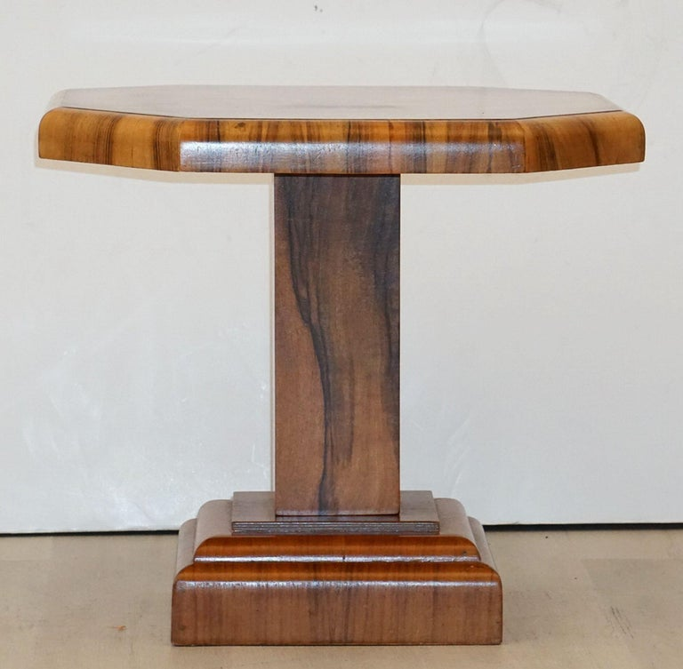 English Art Deco Octagonal Table with Burr Walnut Veneer from England For Sale