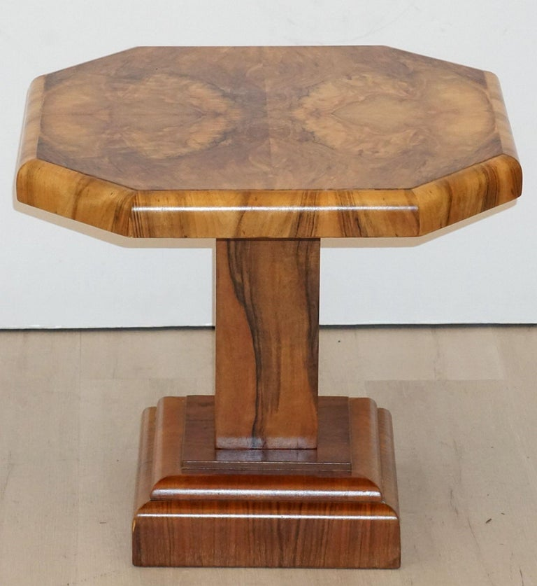 Art Deco Octagonal Table with Burr Walnut Veneer from England For Sale 1