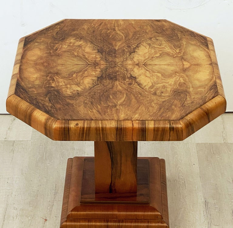 Art Deco Octagonal Table with Burr Walnut Veneer from England For Sale 2