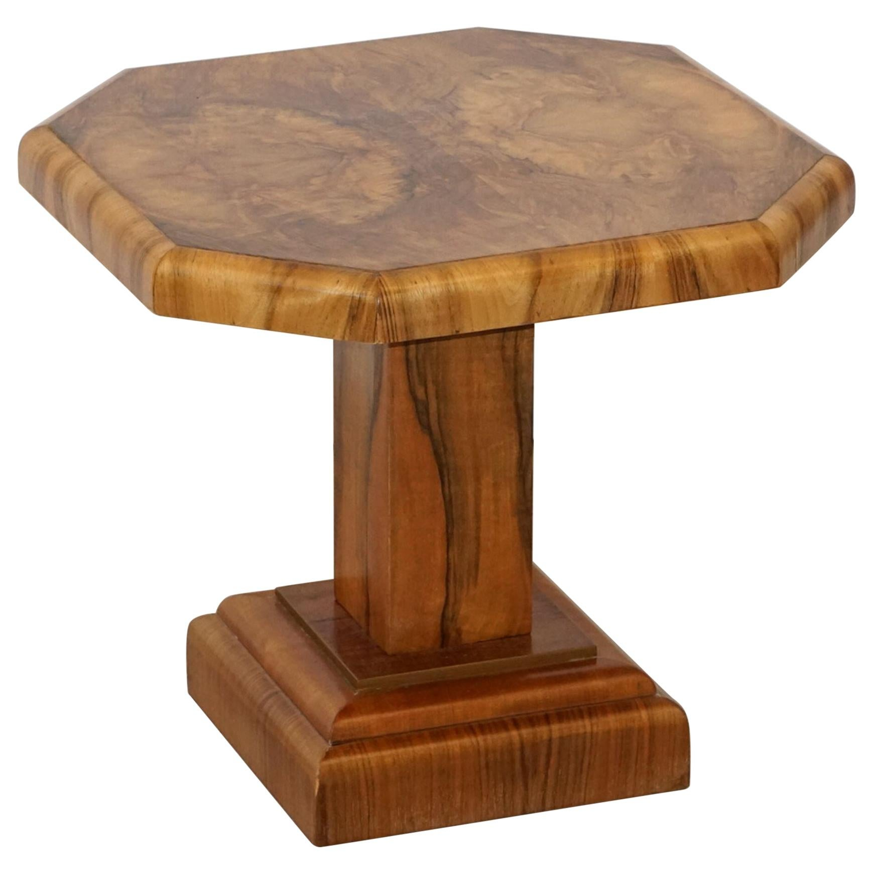 Art Deco Octagonal Table with Burr Walnut Veneer from England