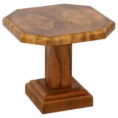 Art Deco Octagonal Table with Burr Walnut Veneer from England