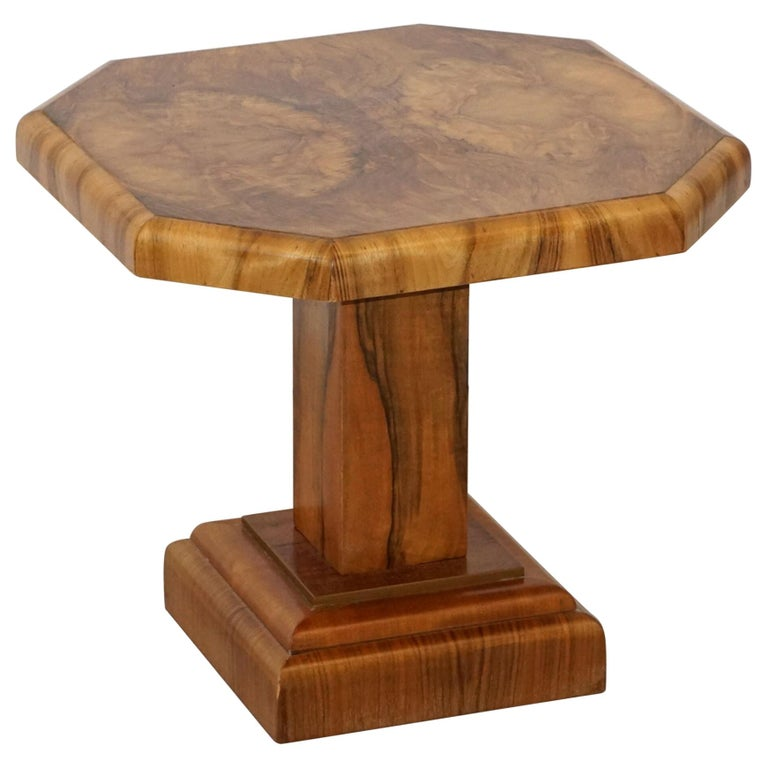 Art Deco Octagonal Table with Burr Walnut Veneer from England For Sale
