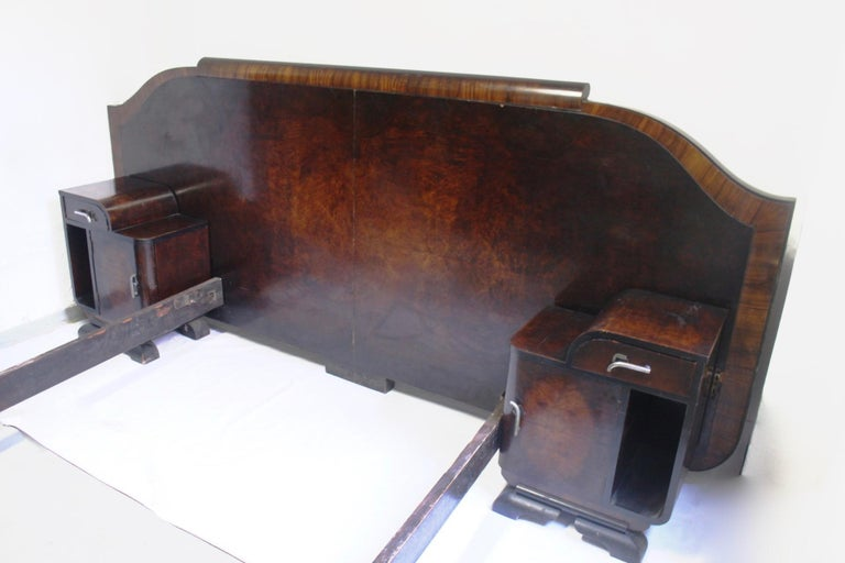 Art Deco Odeon Walnut Large Double Bed With Matching