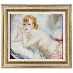 Art Deco Oil on Canvas Painting 'Jeune Femme' by Micao Kono