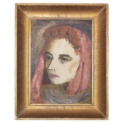 Art Deco Oil on Canvas Portrait Painting of Woman in Gilt Frame Signed Fuller