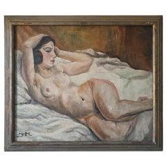Art Deco Oil on Canvas, Reclining Nude, by Jean Saint Paul '1897-1974'