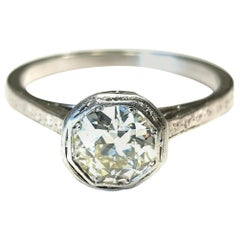 Art Deco Old Cut Diamond 0.90 Carat Engraved Diamond Ring