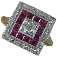 Art Deco Old Cut Diamond and French Cut Ruby 18 Carat Gold Platinum Cluster Ring