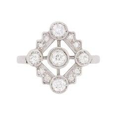 Art Deco Old Cut Diamond Cluster Dinner Ring, circa 1920s