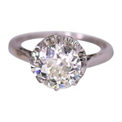 Art Deco Old Cut Diamond Platinum Solitaire Engagement Ring