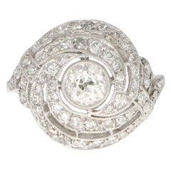 Art Deco Old Cut Diamond Swirl Cocktail Ring Set in Platinum