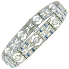 Art Deco Old Cut Diamonds Calibre Sapphire Platinum Bracelet