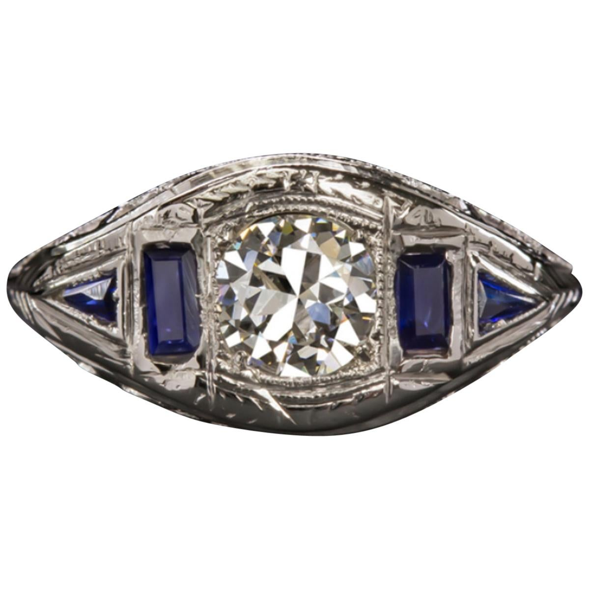 Art Deco Old Cut Round Brilliant Cut Diamond Ring