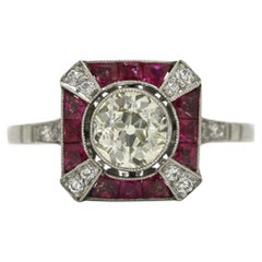 Art Deco Style Old European 1 Carat Diamond Engagement Ring French Cut Rubies