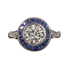 Art Deco Old European 2 Carat Diamond Blue Sapphire Ring