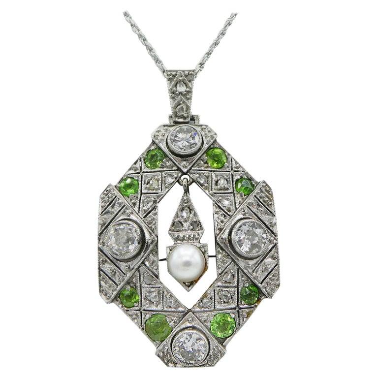 Art Deco Old European and Mine Cut Diamond Peridot Peal Pendant Necklace For Sale