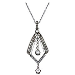 Art Deco Old European and Rose Cut Diamond White Gold Pendant