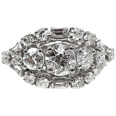 Art Deco Old European Cut and Baguette Diamond Platinum Engagement Ring