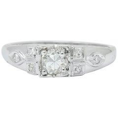 Art Deco Old European Cut Diamond 18 Karat Gold Engagement Ring