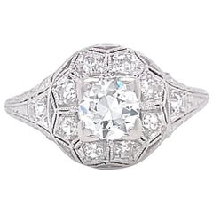 Art Deco Old European Cut Diamond 18 Karat Gold Ring