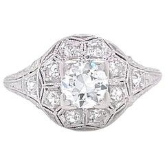 Art Deco Old European Cut Diamond 18 Karat Gold Ring